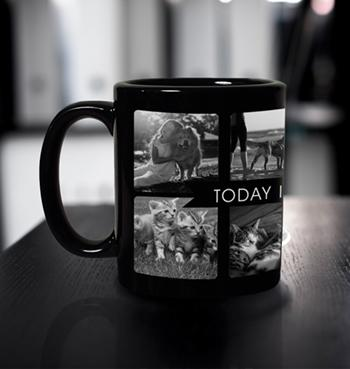 8 Pictures Collage with text Black Coffee Mug