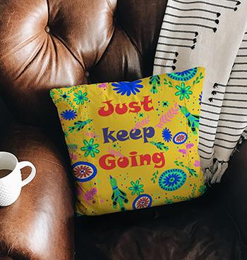 Yellow Just Keep Going pillow with fillers