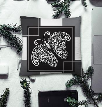Black Butterfly abstract pillow with fillers