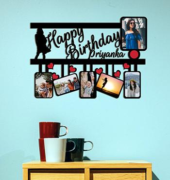 Personalized happy birthday with name on multiphoto collage photo frame