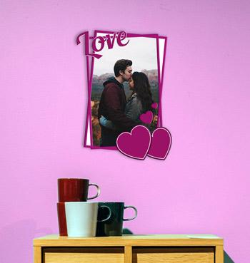 Personalized pink heart with love text photo frame for anniversery gifts