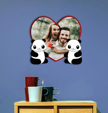 Personalized panda love heart shaped photo frame for anniversery gifts