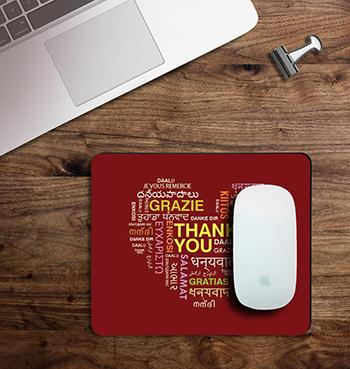 Red Thankfulness Message  on customized Mouse Pad