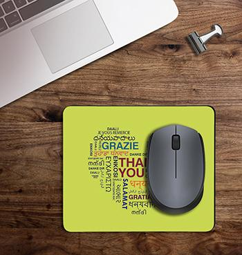 Green Thankfulness Message on customized Mouse Pad