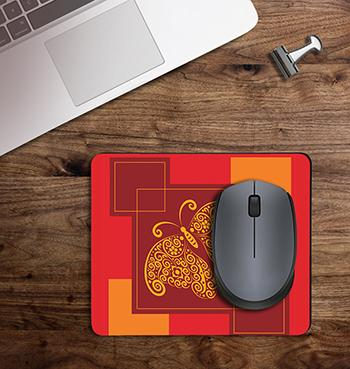 Red Butterfly with Abstract Design on customized mouse pad