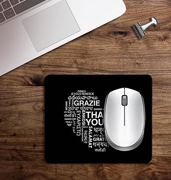 Black Thankfulness Message on customized Mouse Pad