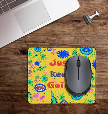 Yellow Just Keep Going on customized Mouse Pad