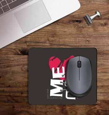You & me connected with names printed on customized Mouse Pad