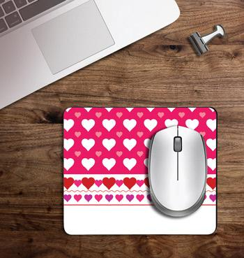 pink heart decoration printed on customized Mouse Pad