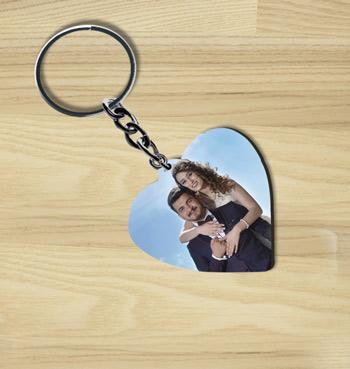 Print photo on heart shape wooden custom keychain