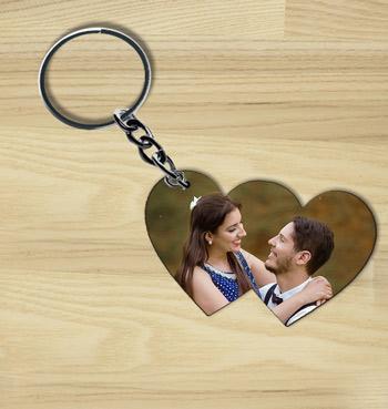 Add Photo on Double Heart wooden custom keychain