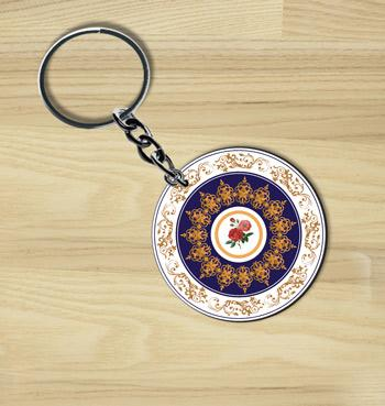 Floral beauty round wooden custom keychain