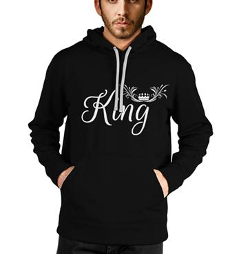 King Crown printed on black hoodies for men