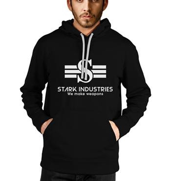 Stark Industries printed on black hoodies for men