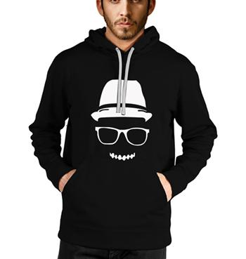 Gold hat face printed on black hoodies for men