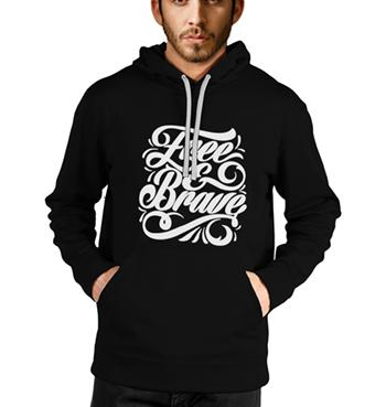 Free & Brave printed black hoodies for men