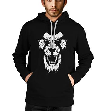 Lion Head printed black hoodies for men