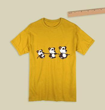 54c66e119 Three cute pandas hanging on yellow t shirt for women
